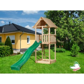 Weka Spielturm + Sandkasten Woody mit Satteldach