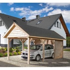 Weka Carport Leimholz Satteldach Gr. 1 (Gestaltungsbeispiel inkl. Geräteraum)