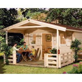 Weka 45 mm Premium Blockbohlenhaus Konstanz 2 mit Vordach +Terrasse