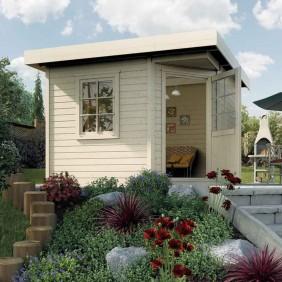 Weka Gartenhaus Flachdachhaus Fides 1 28 mm natur