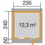 Weka 28 mm Gartenhaus 170 mit Vordach (50 cm) Gr. 2 Grundriss