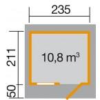 Weka 28 mm Gartenhaus 170 mit Vordach (50 cm) Gr. 1 Grundriss