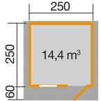 Weka 28 mm Gartenhaus Premium28 FT mit Vordach (60 cm) Gr. 2