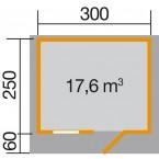 Weka 28 mm Gartenhaus Premium28 FT mit Vordach (60 cm) Gr. 4