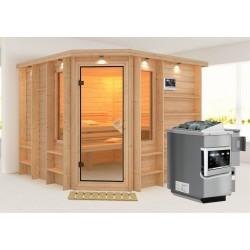 Karibu Sauna Marona - 40 mm Premiumsauna - Eckeinstieg inkl. gratis Bluetooth Lautsprecher