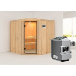 Karibu Sauna Aukura mit Eckeinstieg 68 mm - Rundbogenset inkl. gratis Zubehörpaket