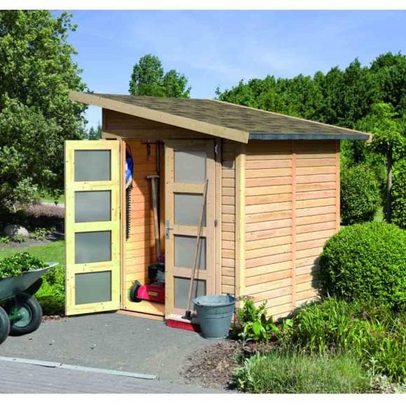 Karibu Classic Gartenhaus Gerätehaus Amrum 2/3 - 19 mm (Abb. inkl. Fußboden, Schleppdach und Dachschindeln - gegen Aufpreis erhältlich)