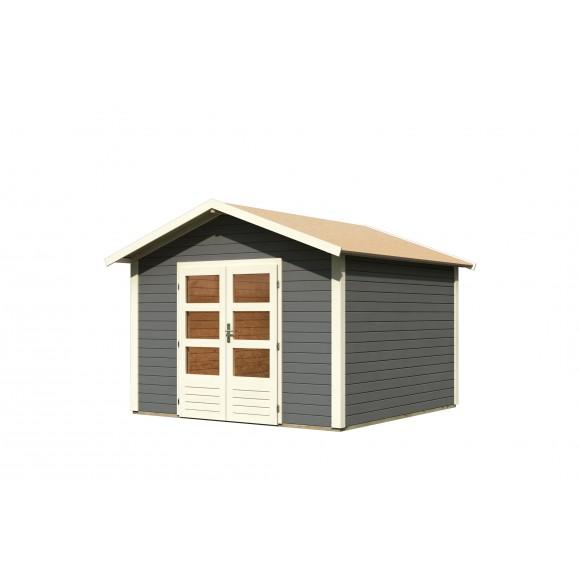 karibu gartenhaus talkau 8 304 x 304 terragrau 28 mm karibu. Black Bedroom Furniture Sets. Home Design Ideas