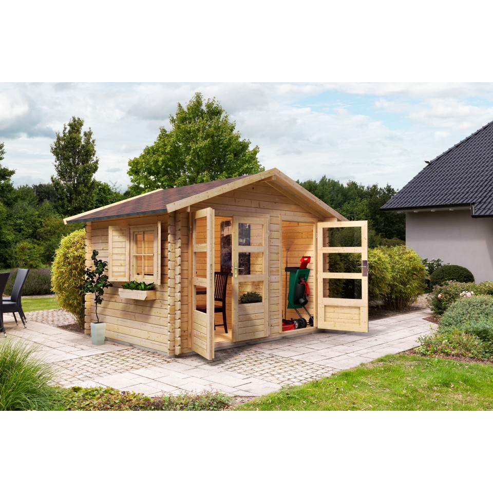 karibu woodfeeling gartenhaus mittelwandhaus kardur 28 mm mein. Black Bedroom Furniture Sets. Home Design Ideas