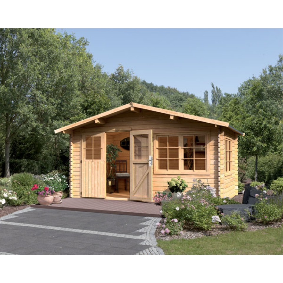 karibu premium blockbohlenhaus gartenhaus hardenberg 1 2. Black Bedroom Furniture Sets. Home Design Ideas