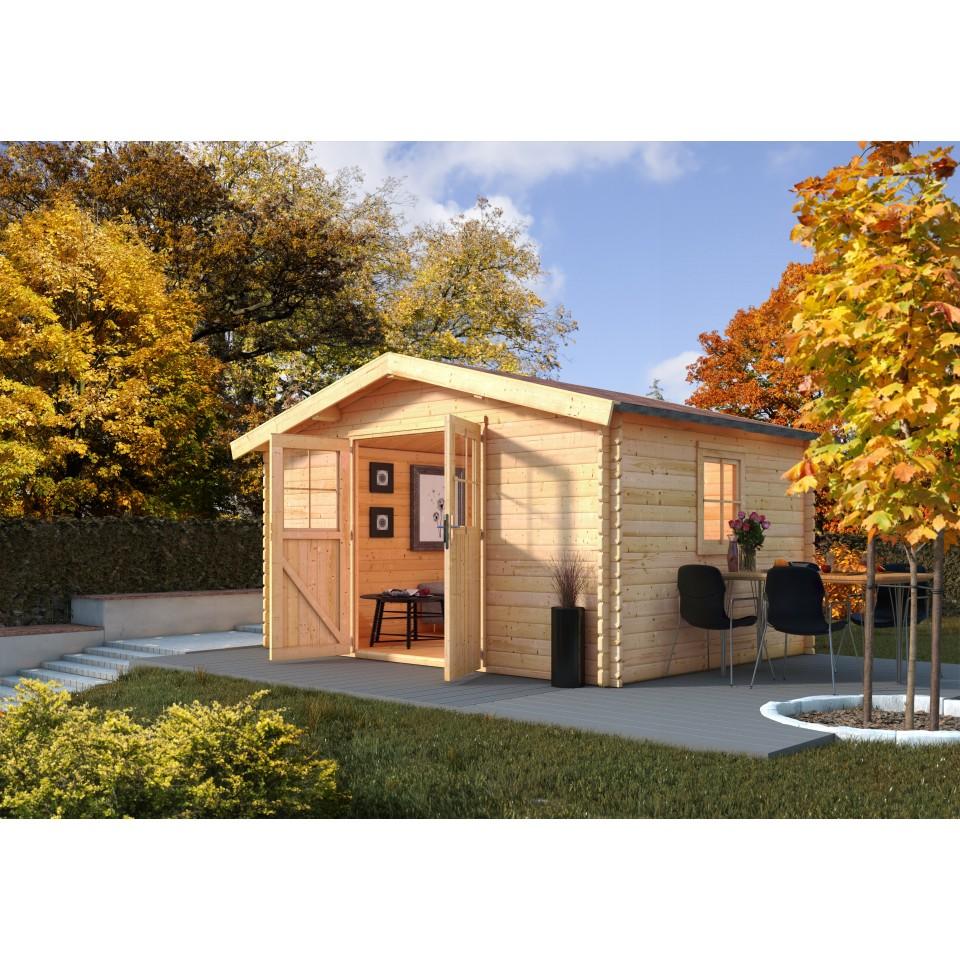karibu woodfeeling gartenhaus m hlheim 5 6 7 8 9 38 mm. Black Bedroom Furniture Sets. Home Design Ideas