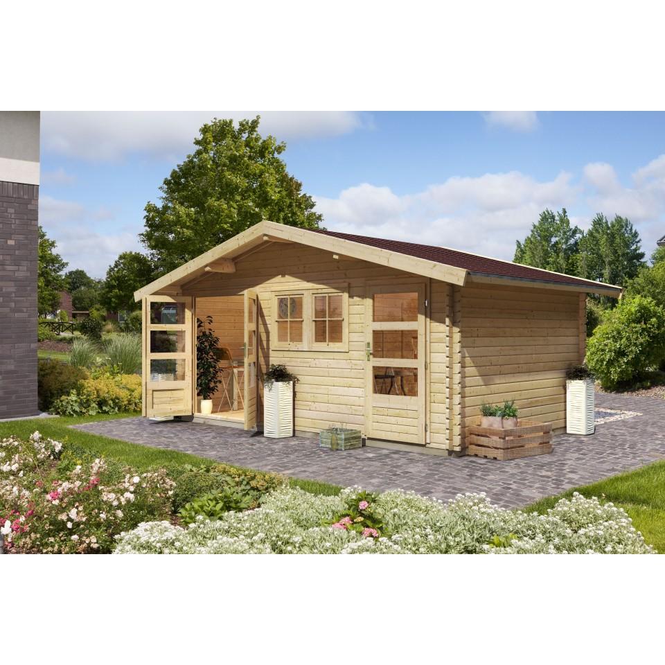 karibu woodfeeling blockbohlenhaus lagor 1 2 38 mm karibu. Black Bedroom Furniture Sets. Home Design Ideas