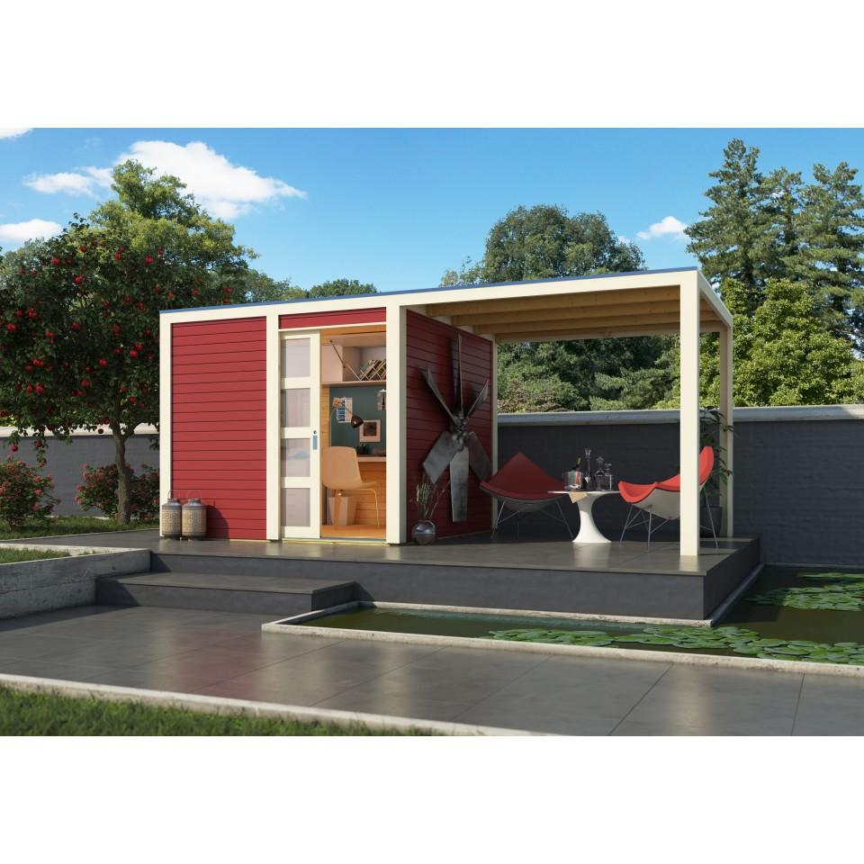 karibu gartenhaus qubic mit schiebet r und 230 cm schleppdach karibu. Black Bedroom Furniture Sets. Home Design Ideas