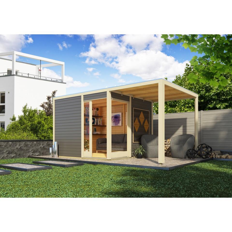 karibu premium gartenhaus qubu eck mit schiebet r inkl 200 cm anbaudach 28 mm karibu. Black Bedroom Furniture Sets. Home Design Ideas