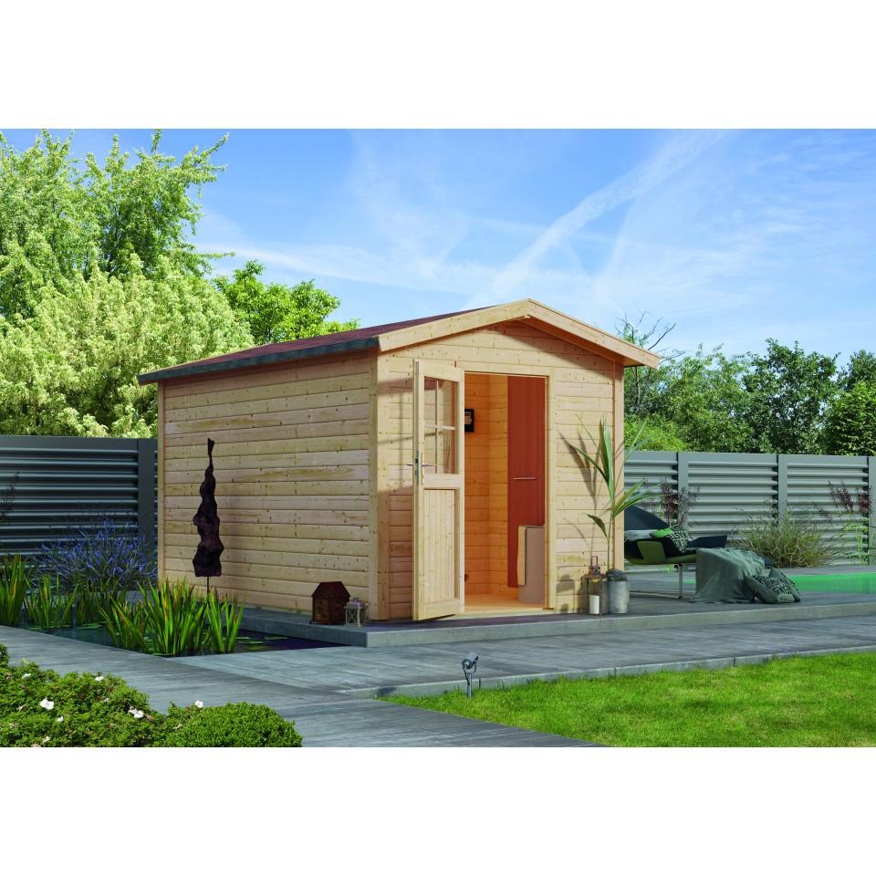 karibu woodfeeling gartensauna saunahaus birka 1 mit vorraum 38 mm karibu. Black Bedroom Furniture Sets. Home Design Ideas