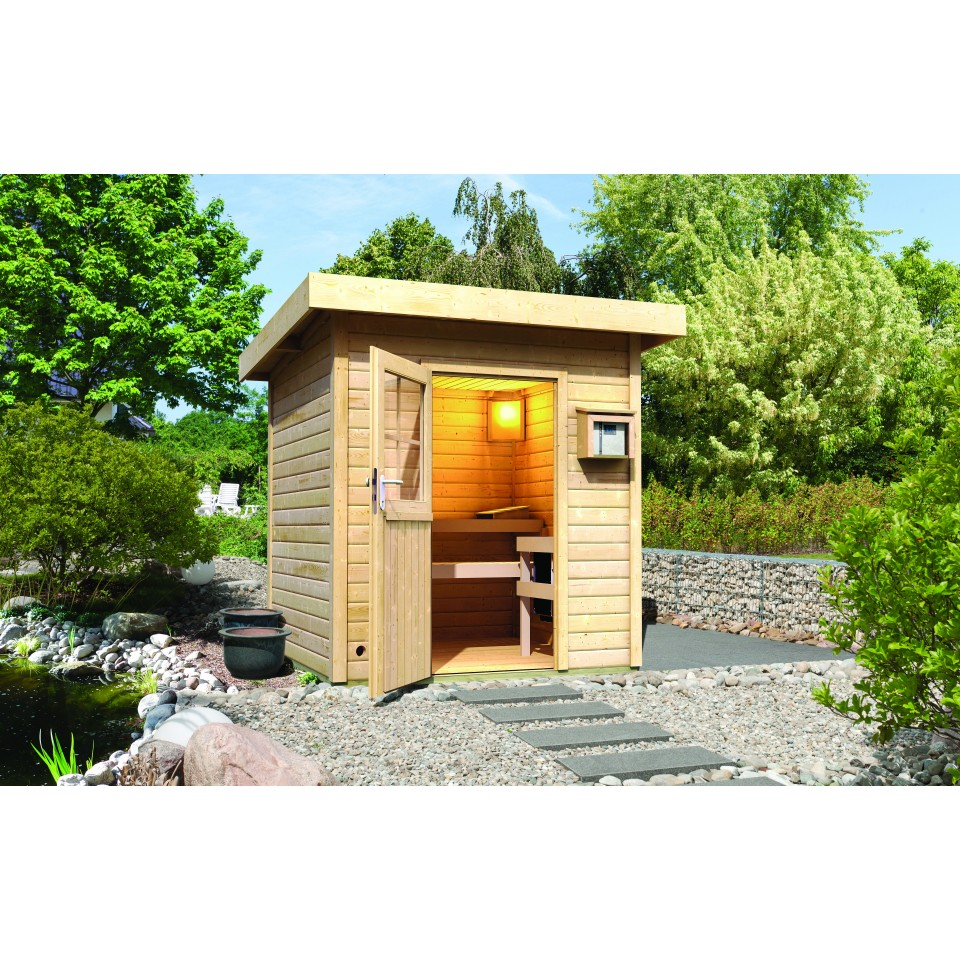 Karibu gartensauna pultdach torge mein for Sauna exterieur toit plat