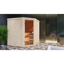 Karibu Aktions-Sauna Tonnes mit Eckeinstieg 68 mm