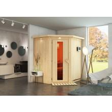 Karibu Sauna Taurin mit Eckeinstieg 68 mm inkl. gratis Zubehörpaket