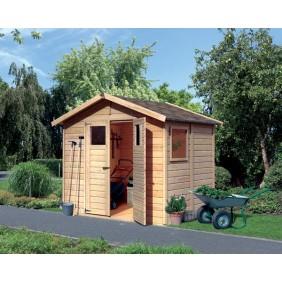 Karibu Eco Gartenhaus Gerätehaus Burin/Balin 1 - 14 mm (Abb. inkl. Zubehör: Fußboden und Dachschindeln)