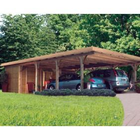 Karibu Carport Doppelcarport Premium Doppel 3  - Abb. inkl. Geräteraum Doppel 1 und 10 H-Pfostenanker - gegen Aufpreis erhältlich