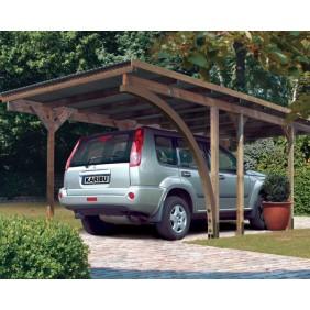 Karibu Carport Einzelcarport Eco 1 - Abb. inkl. 9 H-Pfostenanker, Beschlagbeutel und Rundbogen