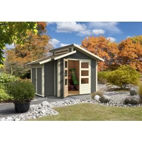 Karibu Classic Gartenhaus Grönelo 28  mm (Abb. inkl. Boden, Anbaukombi, Dachschindeln)