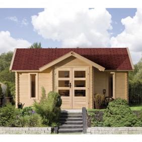 Karibu Premium Blockbohlenhaus Gartenhaus Nordland 40 mm (Abb. inkl. Fußboden und Dachschindeln - gegen Aufpreis erhältlich)