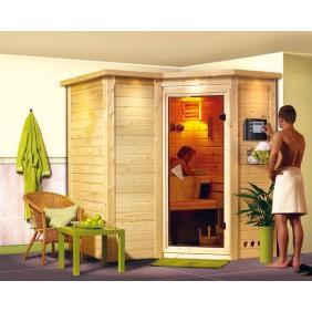 Karibu Sauna Sahib 1 - Massivholzsauna mit Eckeinstieg 40 mm - Sparset
