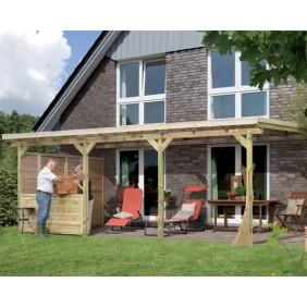 Karibu Terrassenüberdachung Eco Modell 1 - A/B/C (Abb. inkl. Zubehör: 4 H-Pfostenanker, 1 Frontelement und 1 Seitenwandelement)