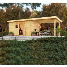 Karibu Blockbohlenhaus Hardenberg 1 (Abb. inkl. Zubehör: Fußboden, WPC Terrassendiele Mahagoni und Dachschindeln)