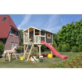 Karibu Kinderspielhaus Kinderspielgerät Hochburg (Abb. inkl. Sandkasten, Wellenrutsche, Netzrampe mit Kletternetz, Schaukelanker, Handgriffe - gegen Aufpreis erhältlich)