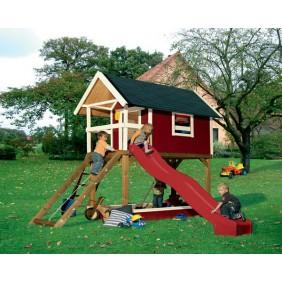 Karibu Kinderspielgerät Gernegroß (Abb. inkl. Zubehör: Sandkasten, Wellenrutsche, Netzrampe, Telefon, Schaukelanker und Dachschindeln)