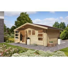 Karibu Woodfeeling Blockbohlenhaus Mittelwandhaus Lagor 1/2- 40 mm