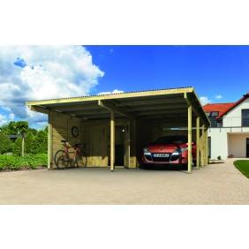 Karibu Carport Doppelcarport Eco - Abb. inkl. 13 H-Pfostenanker, Beschlagbeutel, Geräteraum und 1 Rundbogen - gegen Aufpreis erhältlich