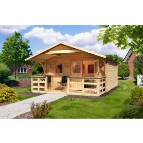 Karibu Blockbohlenhaus Gartenhaus Berne 5/6 (Abb. inkl. Zubehör: Fußboden, Blumenkasten und Dachschindeln)