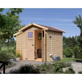 Karibu Eco Gartenhaus Gerätehaus Tobin/Durin 3 - 14 mm (Abb. inkl. Zubehör: Anbauschrank, Fußboden und Dachschindeln)
