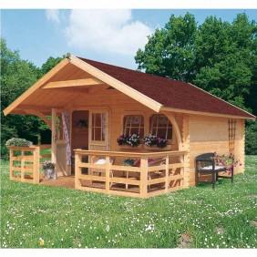 Karibu Premium Blockbohlenhaus Gartenhaus Doderic 3/4/5 (Abb. inkl. Zubehör: Fußboden, Dachausbau mit Rundbögen, Terrasse, Blumenkästen und Dachschindeln)