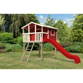 Karibu Kinderspielhaus Kinderspielgerät Hochburg (Abb. inkl. Wellenrutsche, 4 Schaukelanker  - gegen Aufpreis erhältlich)