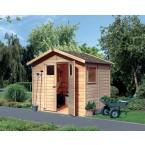 Karibu Eco Gartenhaus Gerätehaus Dalin 1 - 14 mm (Abb. inkl. Zubehör: Fußboden und Dachschindeln)