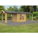 Karibu Woodfeeling Gartenhaus Tastrup 3 - 28 mm mit 2 Anbauten