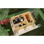 Karibu Woodfeeling Gartenhaus Mattrup - 28mm, Draufsicht Gestaltungsbeispiel
