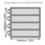 Karibu Gartenhaus Gerätehaus Oldeborg - 28 mm Fundamentplan mit Fußboden