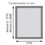 Karibu Gartenhaus Gerätehaus Amrum/Teplitz 2/3-Fundamentplan