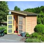 Karibu Classic Gartenhaus Gerätehaus Amrum/Teplitz 2/3 - 19 mm (Abb. inkl. Fußboden, Schleppdach und Dachschindeln - gegen Aufpreis erhältlich)