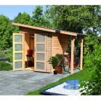 Karibu Classic Gartenhaus Gerätehaus Amrum/Teplitz 2/3 - 19 mm (Abb. inkl. Fußboden und Dachschindeln - gegen Aufpreis erhältlich)