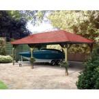 Karibu 4-Eck Pavillon Holm 2 kesseldruckimprägniert (6 H-Pfostenanker und Dachschindeln)