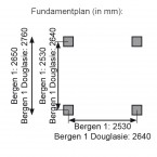 Karibu 4-Eck Pavillon Bergen 1 Fundamentplan