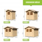 Karibu Eco Gartenhaus Heidenau / Harburg 1/2/3/4/5 - Türversion Classic - 19 mm