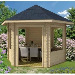 Skan Holz 28 mm Gartenhaus  Madeira 1 inkl. gratis Fundamentanker/Pads