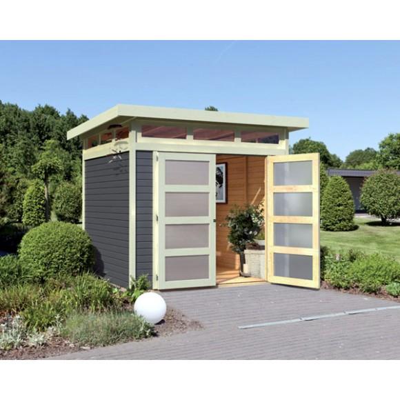karibu gartenhaus sommersdorf 2 terragrau ger tehaus 213x156cm 19mm mwd. Black Bedroom Furniture Sets. Home Design Ideas